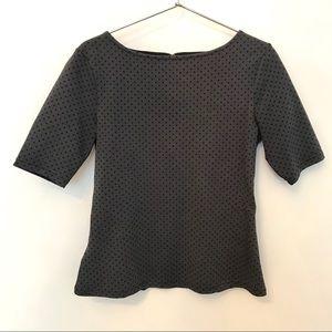 Ann Taylor Polka Dot Structured Knit Top XSP